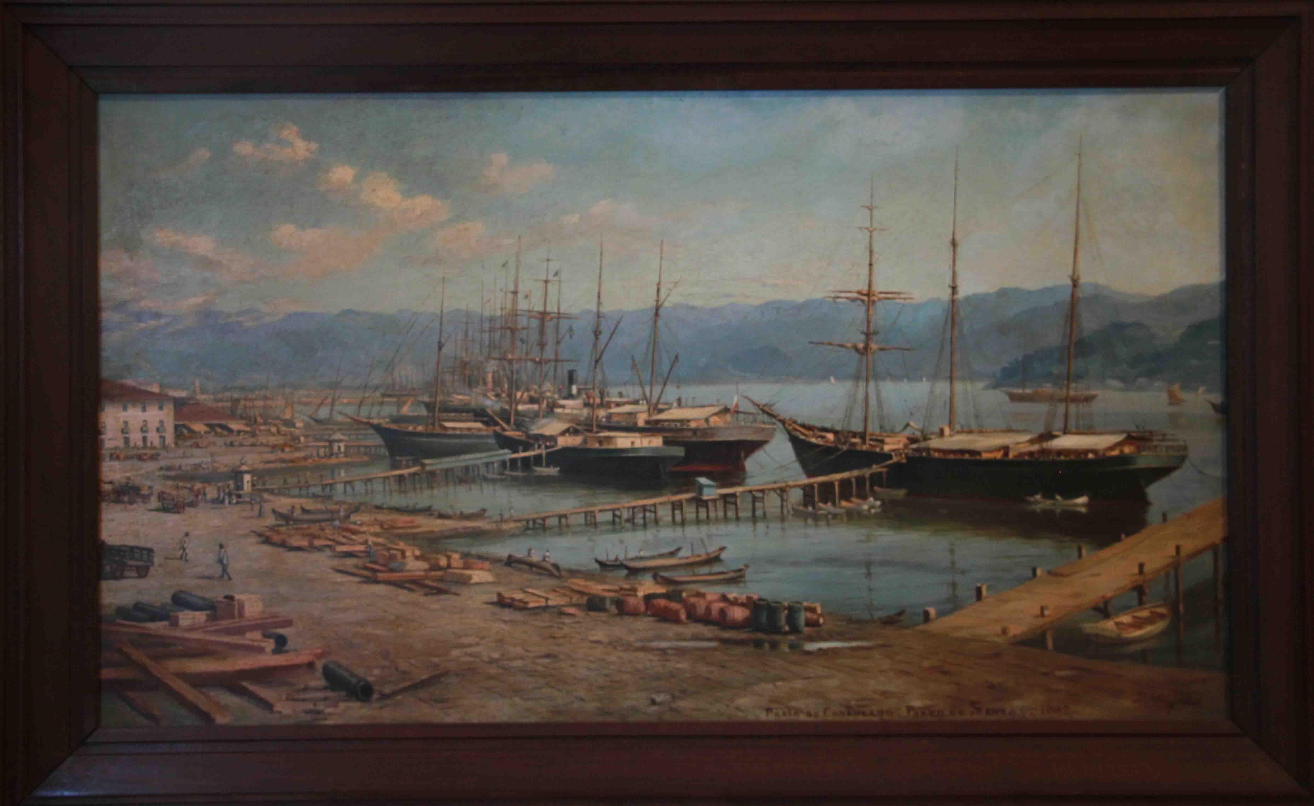 Praia da Rampa do Consulado - Porto de Santos, 1882 - óleo sobre tela Benedicto Calixto