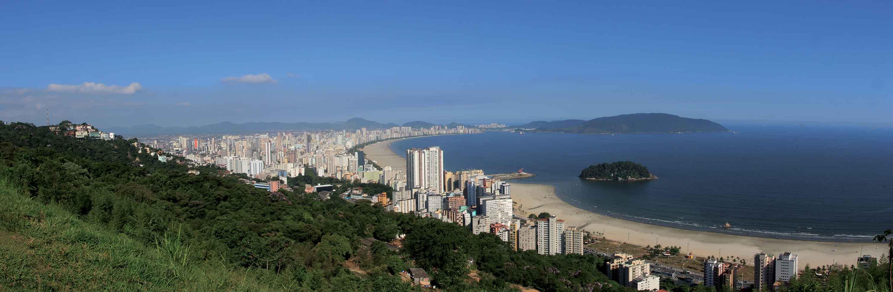 Santos: o maior jardim de praia do mundo- Vista panorâmica das praias de Santos